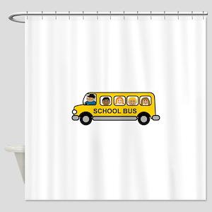 School Bus Kids Shower Curtain
