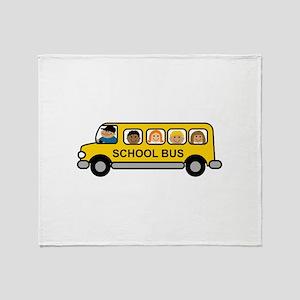 School Bus Kids Throw Blanket