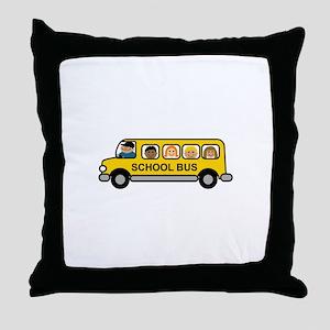 School Bus Kids Throw Pillow
