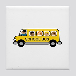 School Bus Kids Tile Coaster