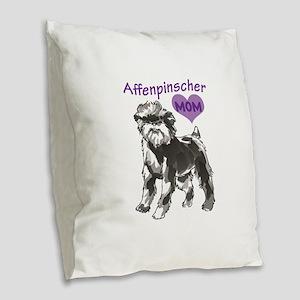 AFFENPINSCHER MOM Burlap Throw Pillow