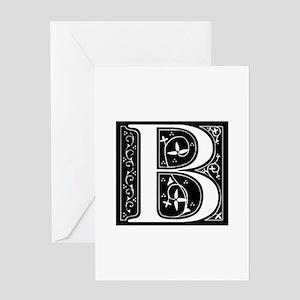 B-fle black Greeting Cards