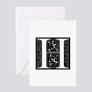 H-fle black Greeting Cards