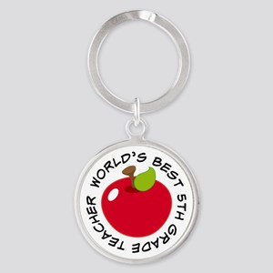 Worlds Best 5th Grade Teacher Round Keychain