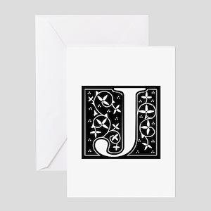 J-fle black Greeting Cards