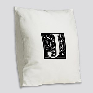 J-fle black Burlap Throw Pillow