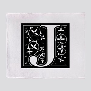 J-fle black Throw Blanket