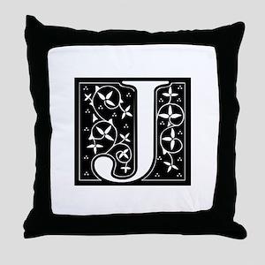 J-fle black Throw Pillow