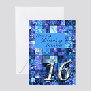16th Birthday Card For A Brotherwith Abstract Squ