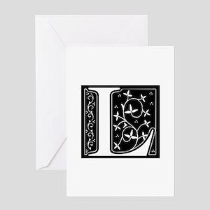 L-fle black Greeting Cards