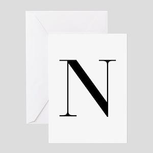 N-bod black Greeting Cards