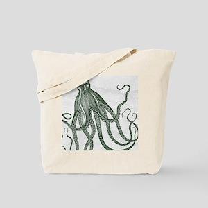 Beautiful Vintage Octopus in Deep Green against ma