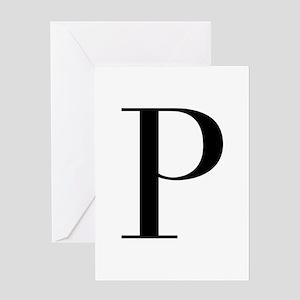 P-bod black Greeting Cards