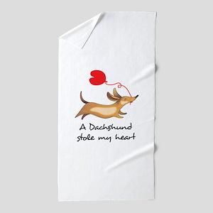 DACHSHUND STOLE MY HEART Beach Towel