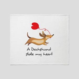 DACHSHUND STOLE MY HEART Throw Blanket