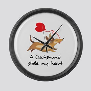 DACHSHUND STOLE MY HEART Large Wall Clock