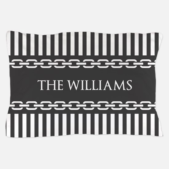 Gray and White Stripes Personalized Pillow Case