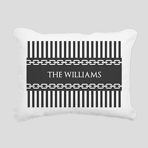 Gray and White Stripes P Rectangular Canvas Pillow
