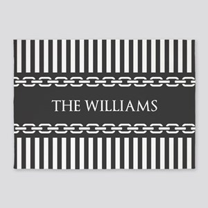 Gray and White Stripes Personalized 5'x7'Area Rug