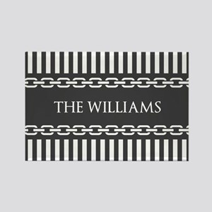 Gray and White Stripes Personaliz Rectangle Magnet