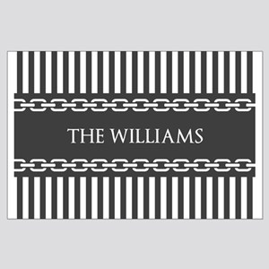 Gray and White Stripes Personalized Large Poster