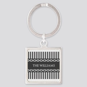 Gray and White Stripes Personalize Square Keychain