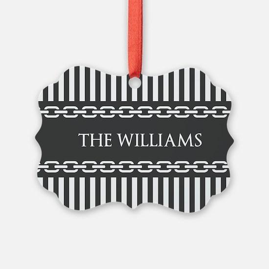 Gray and White Stripes Personaliz Ornament