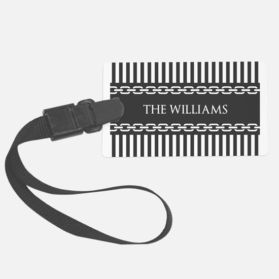 Gray and White Stripes Personali Large Luggage Tag