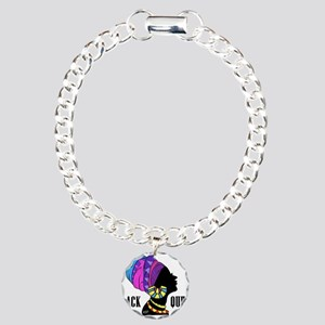 Black African Queen Charm Bracelet, One Charm