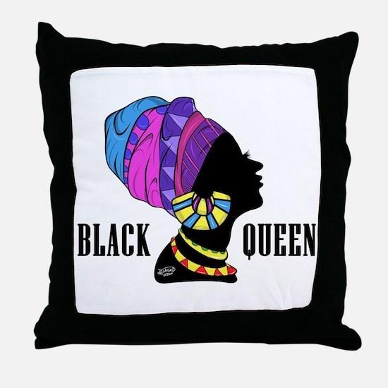 Black African Queen Throw Pillow