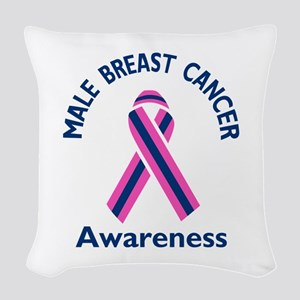 MALE BREAST CANCER Woven Throw Pillow