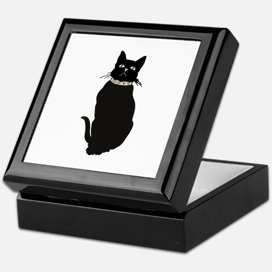 Black Cat Staring Keepsake Box