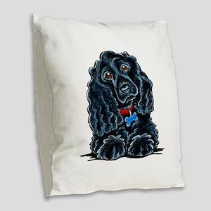 Cocker Spaniel Fitz Burlap Throw Pillow