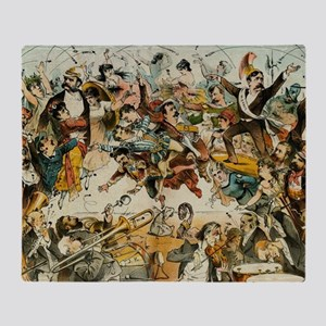 The Operatic War Vintage Illustratio Throw Blanket