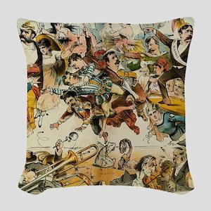 The Operatic War Vintage Illus Woven Throw Pillow