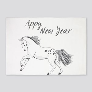 Appy New Year Appaloosa Horse 5'x7'Area Rug