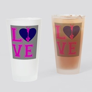 Pink and Gray Cheerleader Drinking Glass