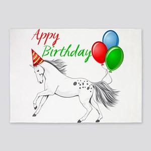 Happy New year Appaloosa Horse 5'x7'Area Rug