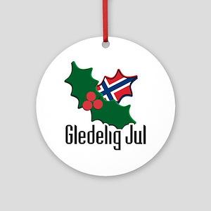 Norway Christmas Gledelig Jul Ornament (Round)