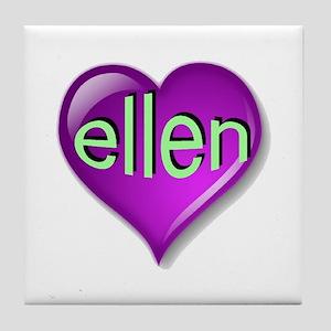 Love ellen Purple Heart Tile Coaster