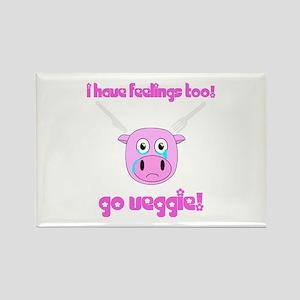 Go Veggie Pig Rectangle Magnet