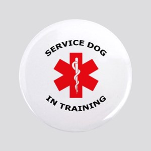 """SERVICE DOG IN TRAINING 3.5"""" Button"""