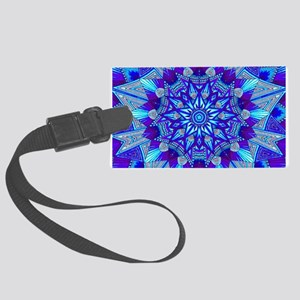 Blue and Purple Patterned Star Large Luggage Tag