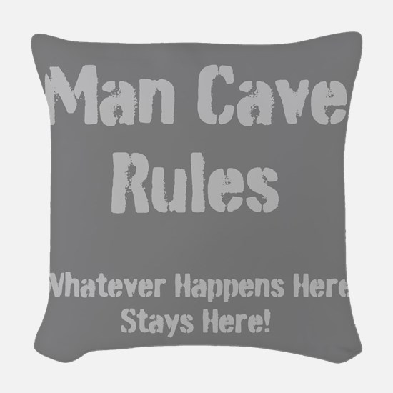 Man Cave Rules Woven Throw Pillow
