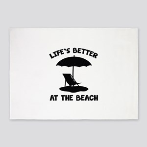 Life's Better At The Beach 5'x7'Area Rug