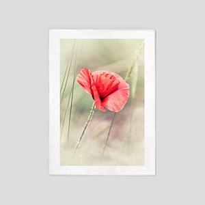 Wild Poppy Flower 5'x7'Area Rug