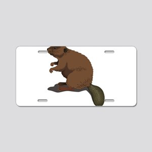 Cute Beaver Sitting Aluminum License Plate