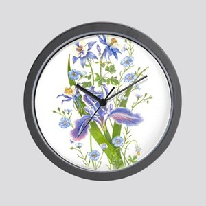 Blue Bouquet Wall Clock