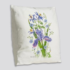 Blue Bouquet Burlap Throw Pillow