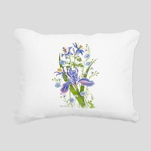 Blue Bouquet Rectangular Canvas Pillow